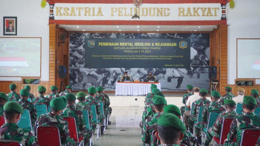 Bintal Ideologi dan Kejuangan Satuan Jajaran Korem 174/ATW Triwulan II TA 2021 diikuti Prajurit dan PNS di lingkungan Korem 174/ATW Merauke