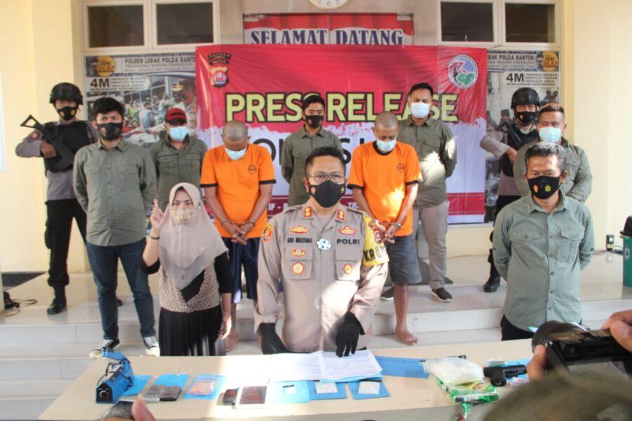 Polres Lebak menggelar press release pengungkapan kasus Narkotika golongan I jenis shabu oleh Jajaran Sat Resnarkoba Polres Lebak