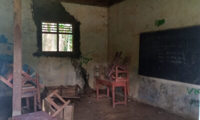 Bangunan Sekolah Madrasah Diniyah Takmiliyah Awwaliyah (MDTA) Nabeng yang beralamat di Desa Simpangtiga, Kecamatan Patia terlihat rusak