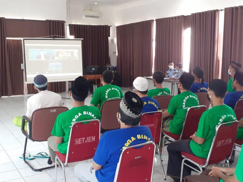21 Warga Binaan Pemasyarakatan (WBP) Lembaga Pemasyarakatan (Lapas) Rangkasbitung antusias mengikuti kegiatan belajar mengaji secara virtual