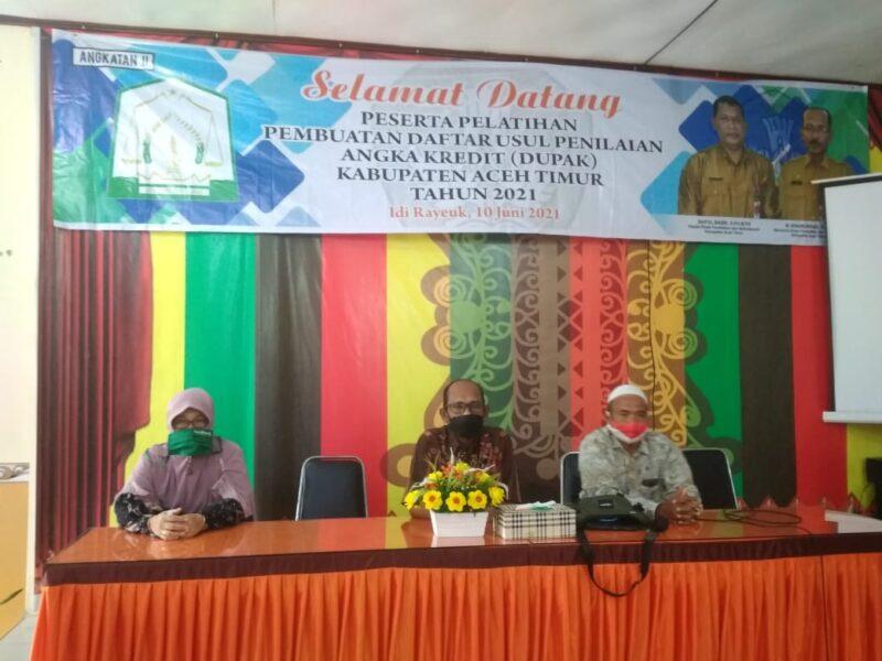tingkatkan kompetensi tentang pengetahuan cara pengusulan Penetapan Angka Kredit (PAK), puluhan guru SD dan SMP Kabupaten Aceh Timur