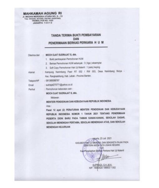 Maha Bidik Indonesia secara resmi telah mengajukan Hak Uji Materiil (HUM) ke Mahkamah Agung RI atas ketentuan Pasal 12 ayat (2) Permendikbud