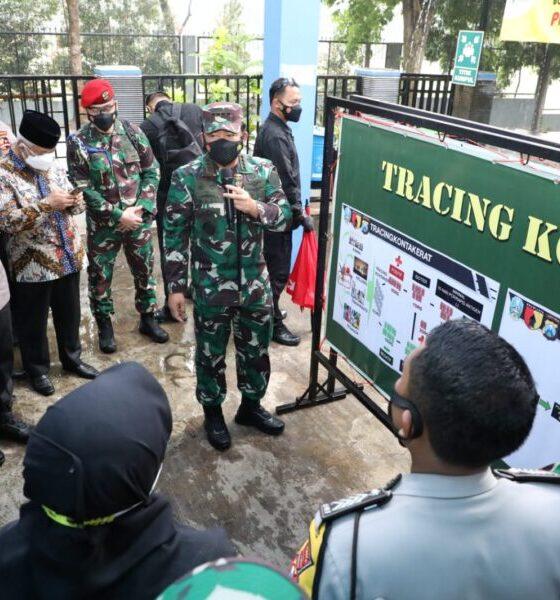 Kedatangan Panglima TNI dan rombongan untuk mengecek dan melihat secara langsung kesiapan petugas yang akan menggunakan aplikasi Silacak