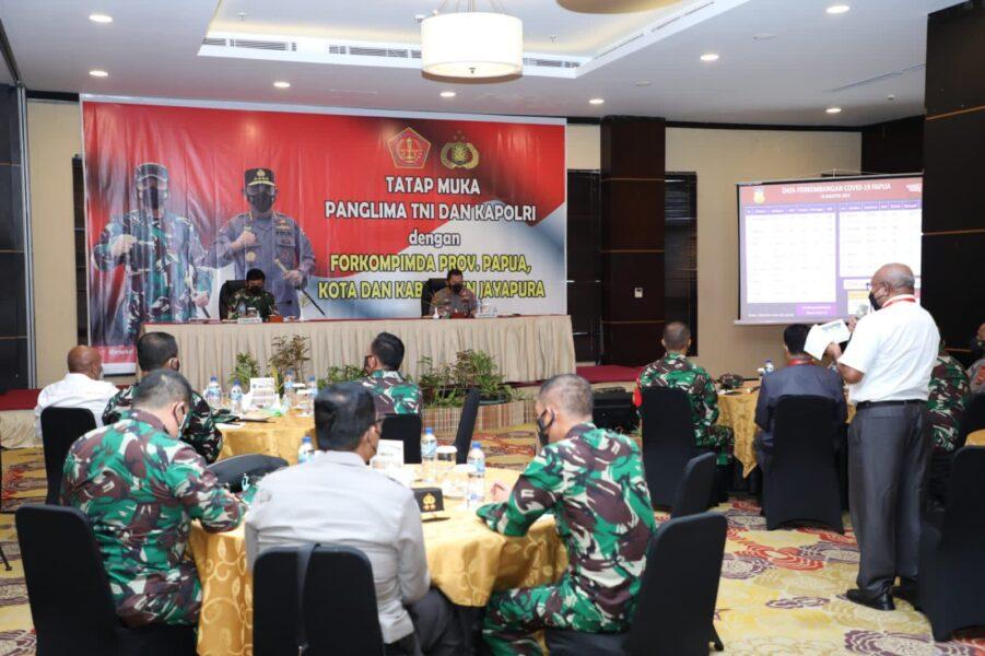 Panglima TNI diskusi dan tatap muka terkait pelaksanaan PON XX bersama Forkompimda Provinsi Papua, Kota dan Kabupaten Jayapura
