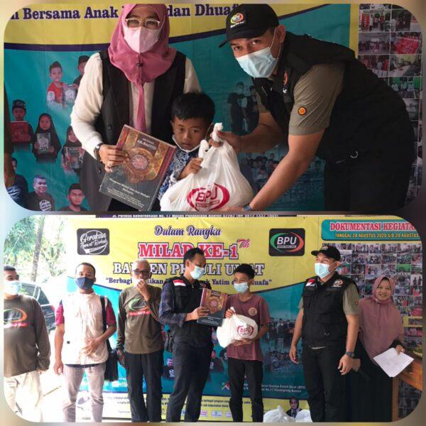 Dalam rangka memperingati Milad ke-1 Banten Peduli Umat (BPU) mengadakan santunan kepada 100 anak yatim dan dhuafa di Kantor Pusat