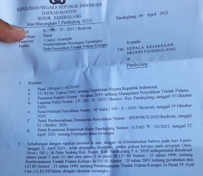 Kasus dugaan korupsi penyelewengan Anggaran Dana Desa (ADD) Tahun Anggaran 2019 di Desa Sodong, Kecamatan Saketi, Kabupaten Pandeglang