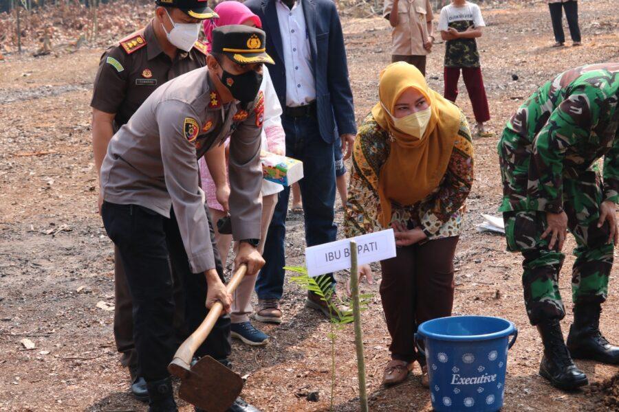 Warga Desa Medong menerima penyerahan bibit sengon dari Pemerintah Kabupaten (Pemkab) Pandeglang yang diserahkan secara simbolis