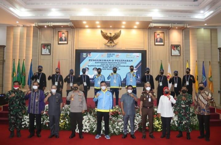 Wakapolda Banten menghadiri pelepasan kontingen atlet Banten untuk mengikuti kejuaraan Pekan Olahraga Nasional (PON) XX tahun 2021 di Papua
