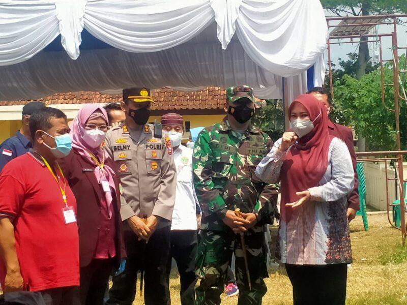 Ribuan Warga Kecamatan Kaduhejo mengikuti vaksin Covid-19 1000 dosis yang diselenggarakan oleh PPNI. Antusiasme warga mulai dari lansia,
