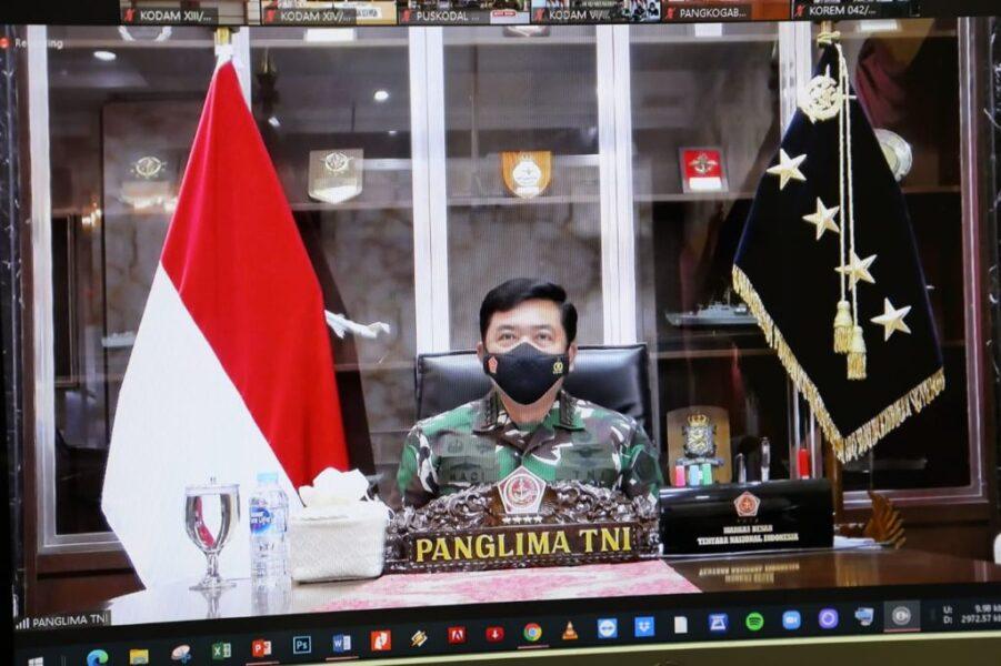 Panglima TNI Marsekal Hadi Tjahjanto, S.I.P., memimpin rapat evaluasi penanganan Covid-19 dan vaksinasi dengan para Pejabat Utama Mabes