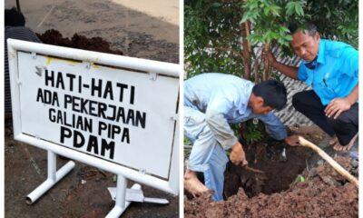 Petugas PDAM cabang Kecamatan Cibadak merespon dengan cepat tanggap adanya kebocoran di taman lestari dan di Desa Warnajati